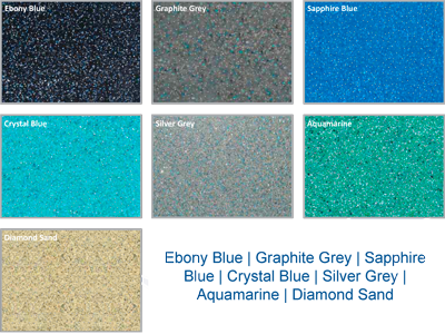 Ebony Blue | Graphite Grey | Sapphire Blue | Crystal Blue | Silver Grey | Aquamarine | Diamond Sand